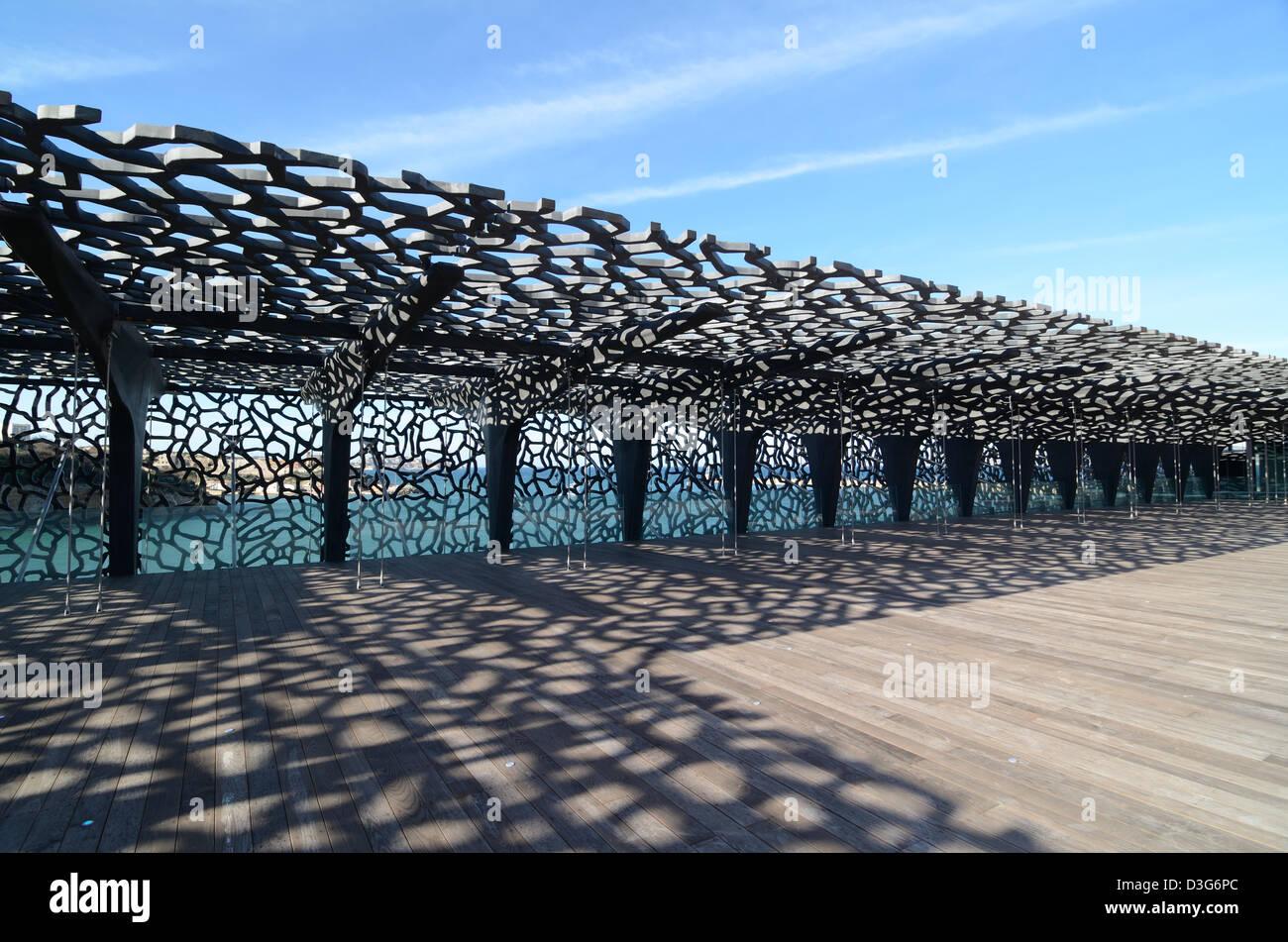 Roof Terrace With Latticework Pergola Or Sun Screen MUCEM Museum By Rudy  Ricciotti Marseille France