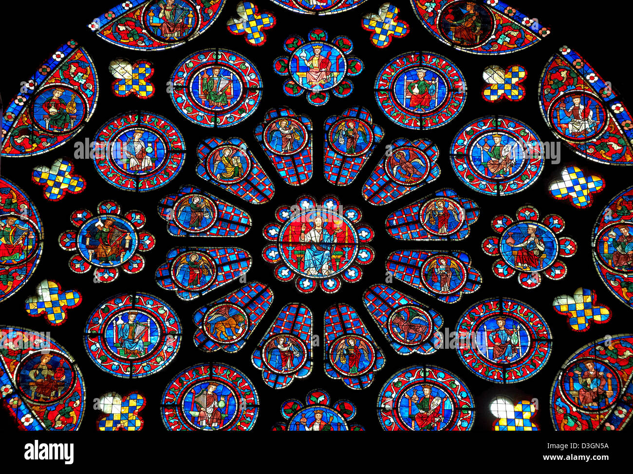 Medieval Rose Window Of The South Transept Gothic Cathedral Chartres France Circa 1225 30