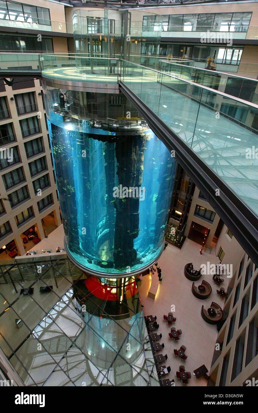 Dpa view of the 25 meter high aquarium pillar in the for Fish hotel tank