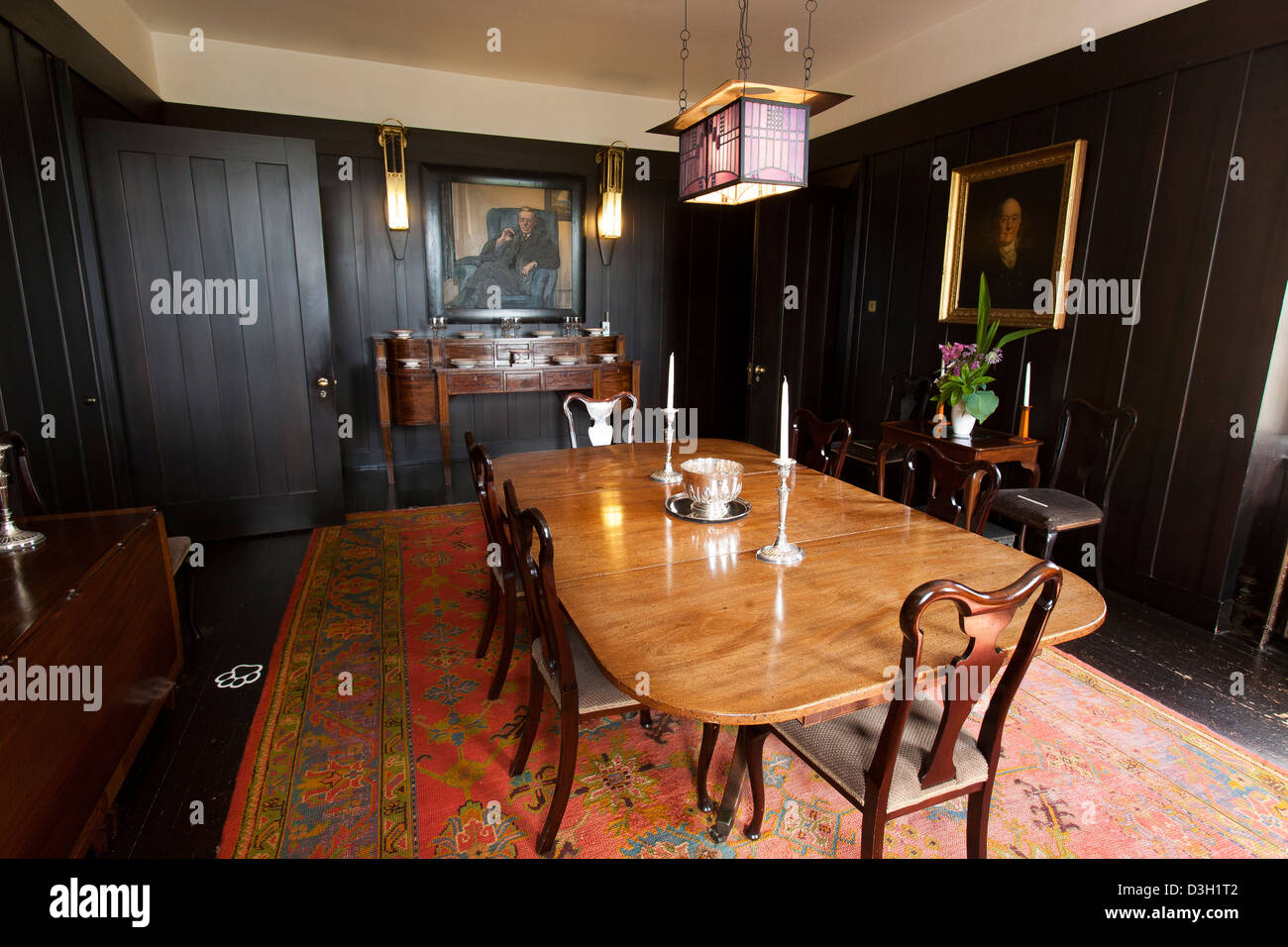 The Dining Room With Dark Wood Panels At Hill House By Charles Rennie  Mackintosh In Helensburgh, Scotland Close To Glasgow