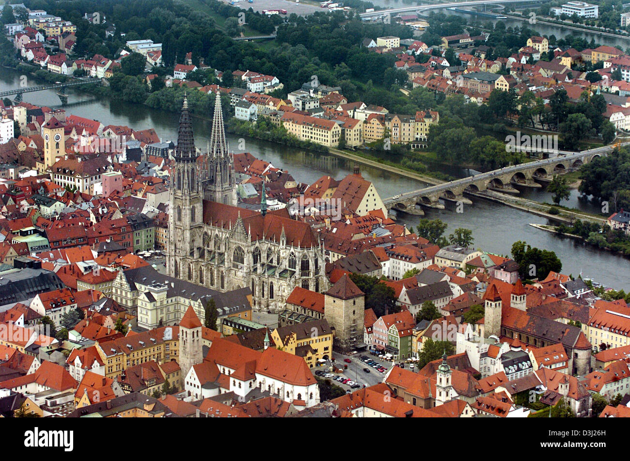 dpa the aerial view shows the old town of regensburg germany 15 stock photo royalty free. Black Bedroom Furniture Sets. Home Design Ideas