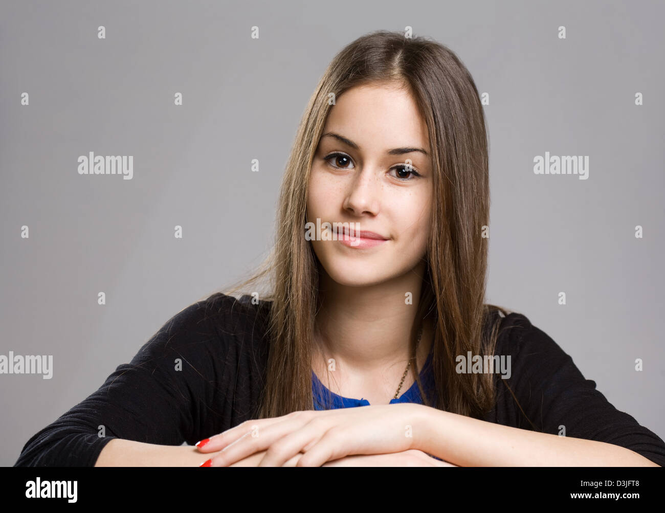 Expressive portrait of cute young teen beauty stock photo for Cute teenager girls