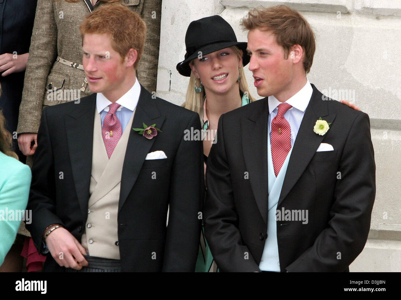 dpa) - Prince Harry (L), Prince William (R) and their cousin Zara ...