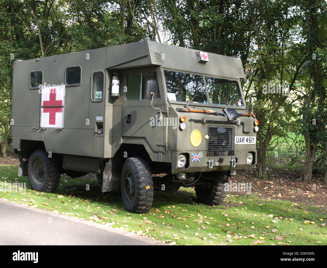 Vintage military landrover ambulance at holme 1940 s weekend stock image