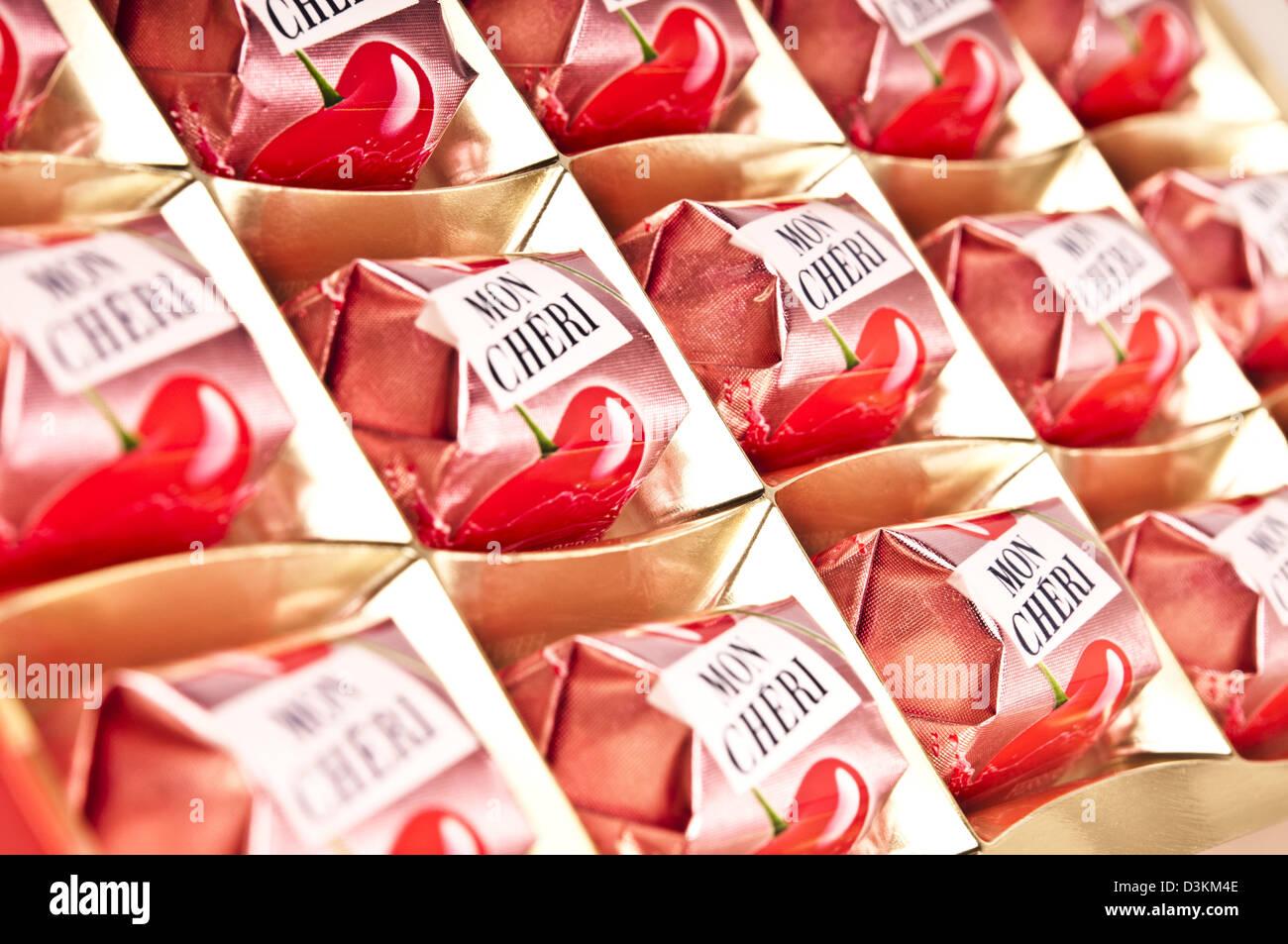 box of Mon Cheri chocolate bonbons Stock Photo, Royalty Free Image ...