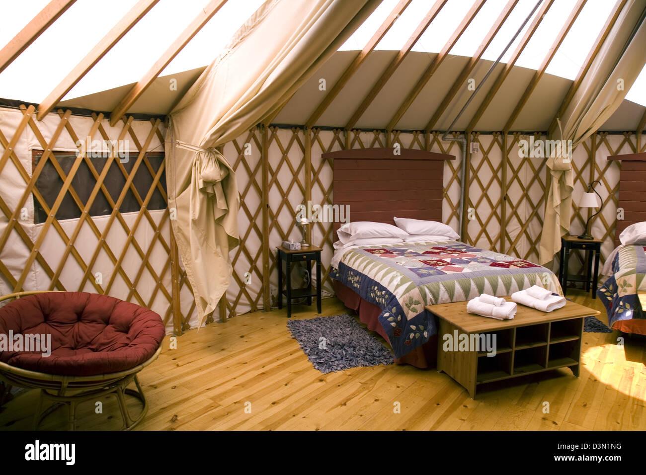 yurt interior at treebones resort, big sur, california, usa stock