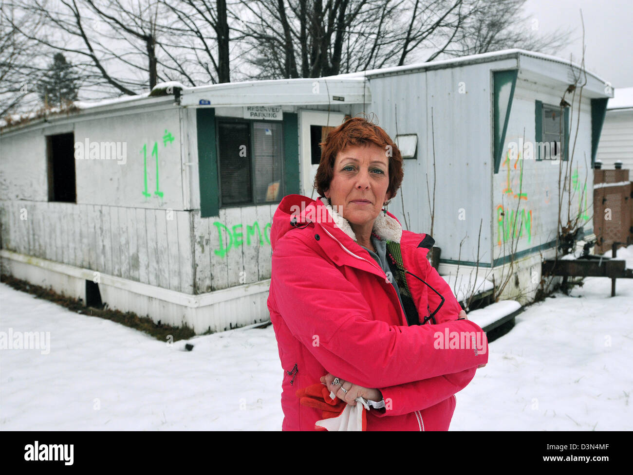 Trailer Park Blight A Woman With Abandoned Mobile Home In