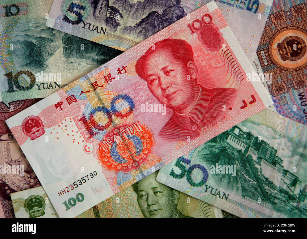 The photo shows the Chinese currency Renminbi with a portrait of ...