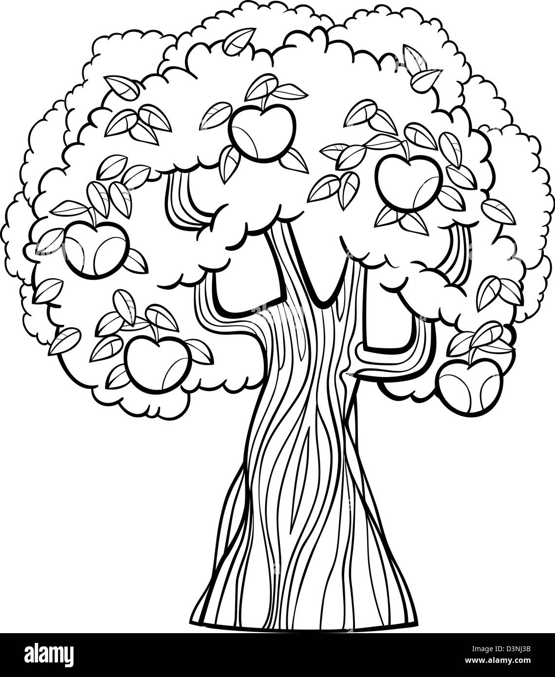 black and white cartoon illustration of apple tree with apples for