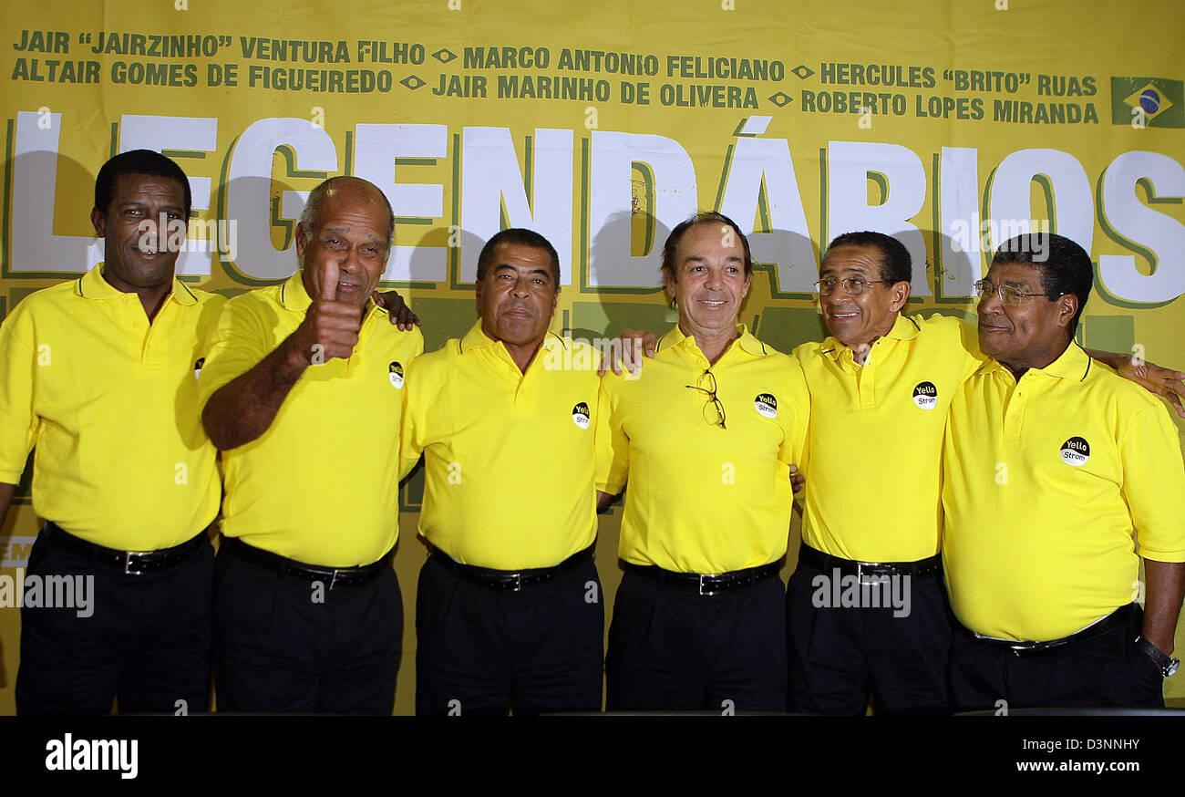 Brazilian football legends Roberto Miranda l r Jairzinho Marco