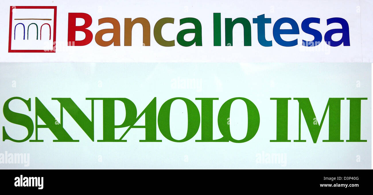 The picture shows the logos of Italian banks Banca Intesa and ...