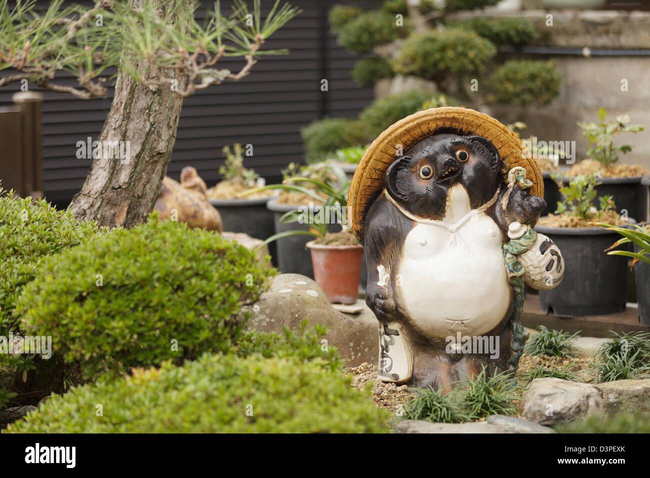 Japanese Garden Statue Of Tanuki The Raccoon Dog Animal Kyoto - Japanese garden ornaments