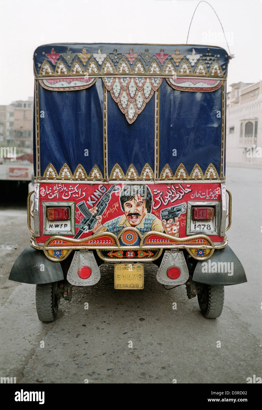 Peshawar pakistan a pakistani auto rickshaw decorated for Auto decoration in pakistan