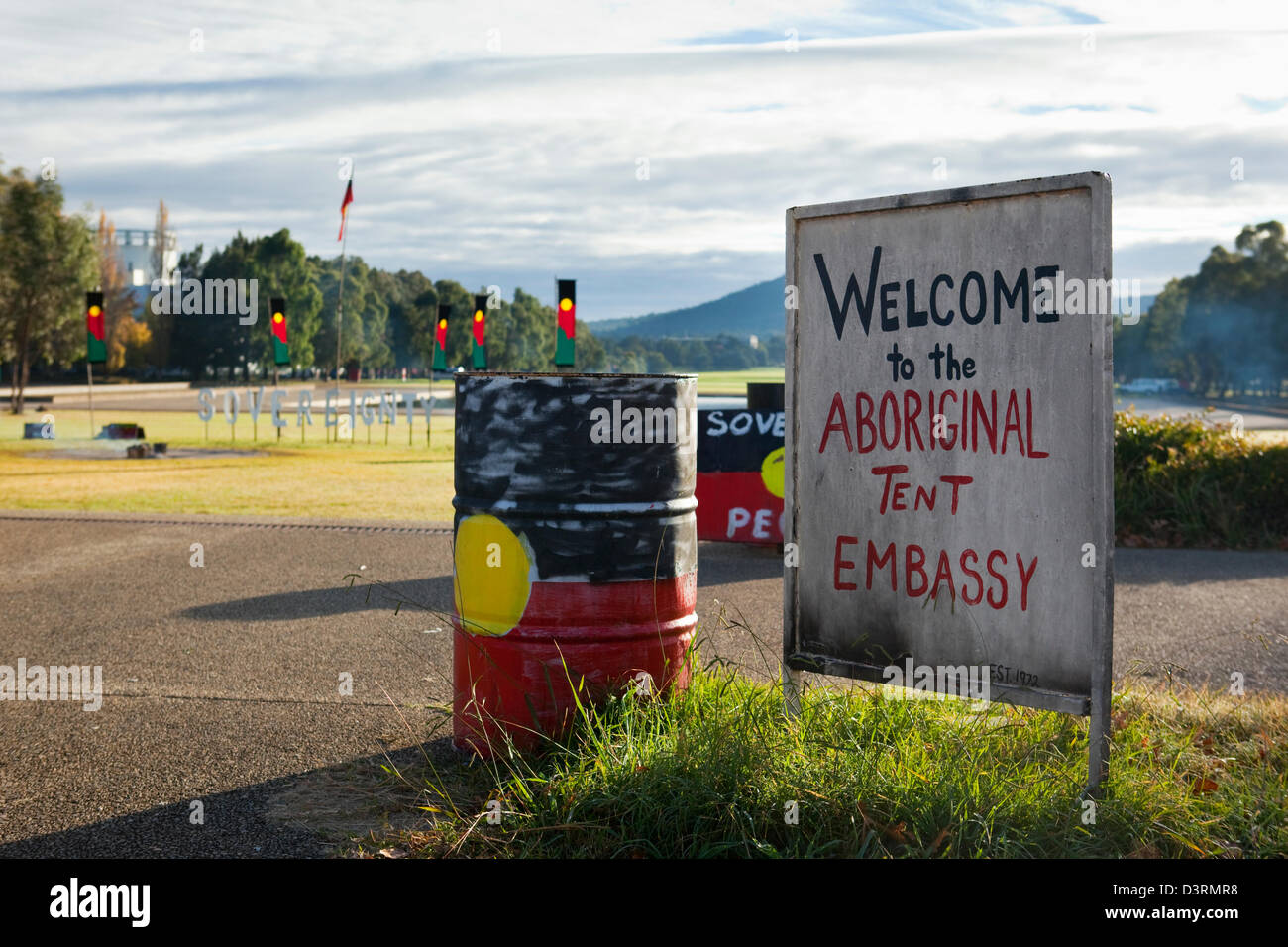 Aboriginal Tent Embassy in front of the Old Parliament House. Canberra Australian Capital Territory (ACT) Australia & Aboriginal Tent Embassy in front of the Old Parliament House Stock ...