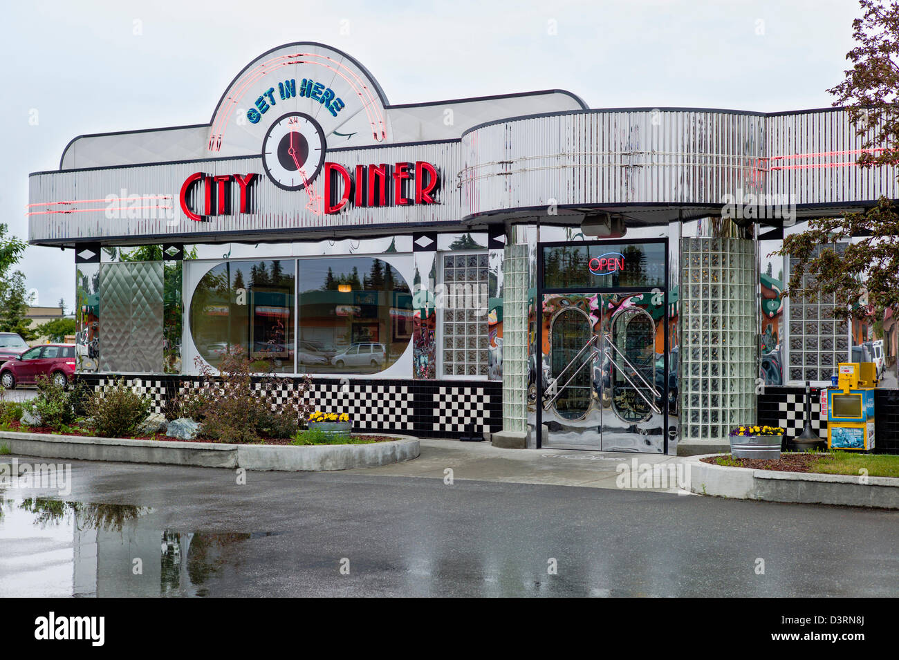 exterior view of retro design stainless steel city diner anchorage stock photo royalty free. Black Bedroom Furniture Sets. Home Design Ideas