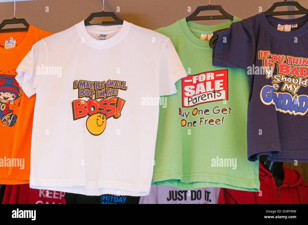 Humorous children's T shirts for sale Puerto de Mogan market, Gran ...
