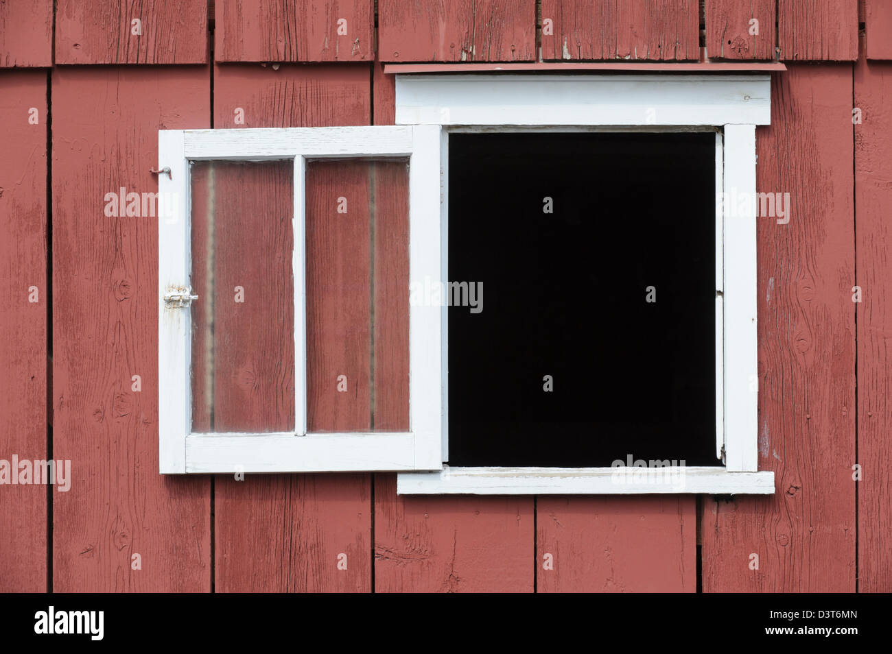 Open red barn doors - Open Window In Red Barn With White Trim As A Design Element Place Your Own Image In The Opening