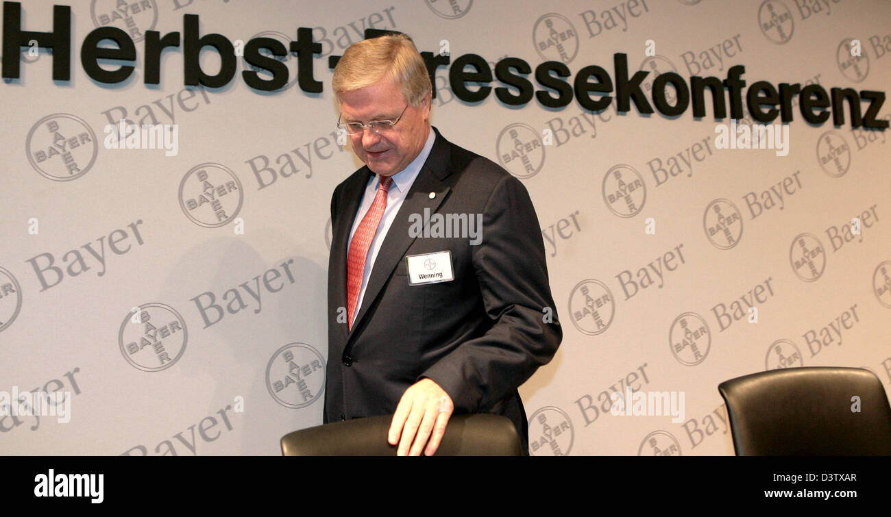 Werner Ag bayer ag ceo werner wenning arrives at his company s autumn press