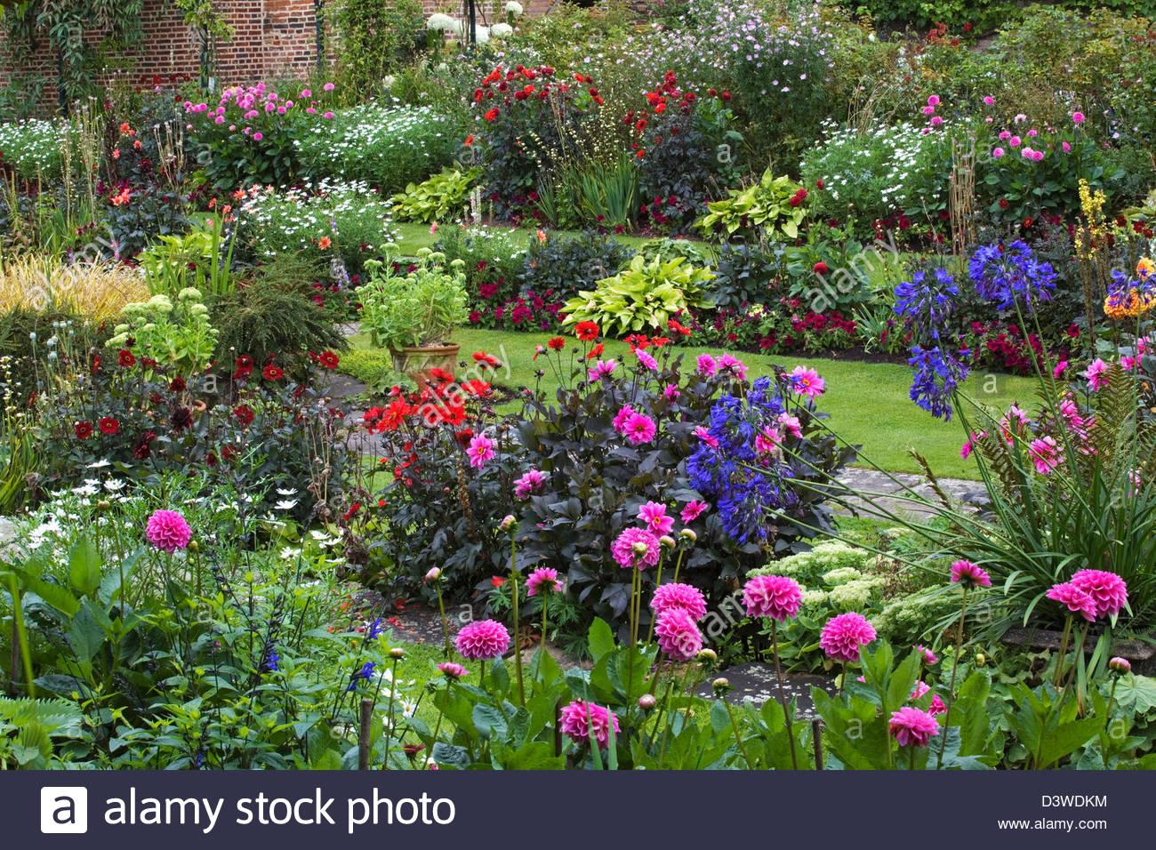 english garden - chenies manor gardens, uk stock photo, royalty