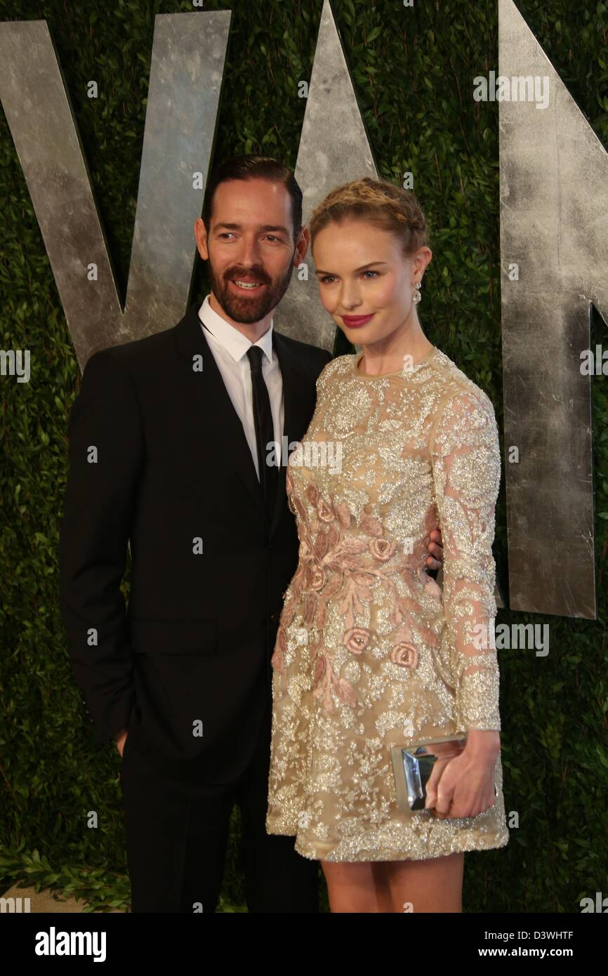 Beautiful Actress Kate Bosworth And Michael Polish Arrive At The Vanity Fair Oscar  Party At Sunset Tower In West Hollywood, Los Angeles, USA, On 24 February  2013.