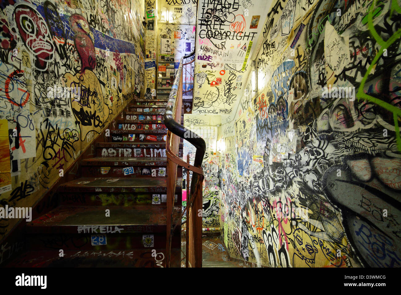 Berlin germany a overdraft with graffiti staircase in haus schwarzenberg