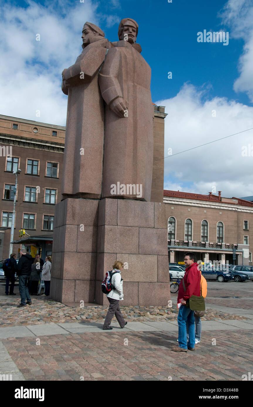 Soviet memorial dedicated to cosmonauts from kaliningrad - Soviet Monument Of The Latvian Red Riflemen On R Tsaukums Town Hall Square In Riga
