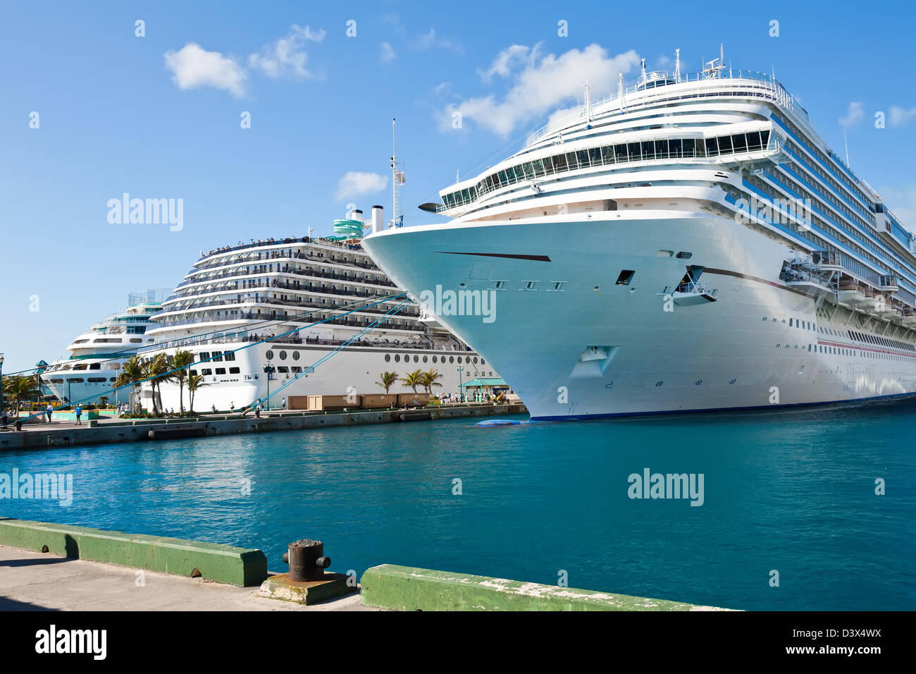 luxury cruise ships anchored in nassau bahamas port of call
