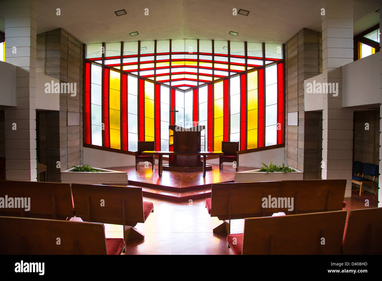 interior of danforth chapel on the frank lloyd wright designed