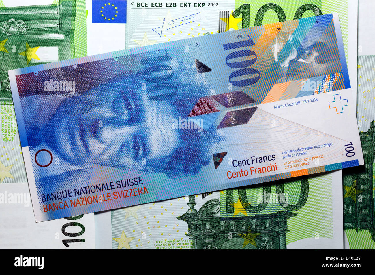 100 franken banknote with alberto giacometti and 100 euro. Black Bedroom Furniture Sets. Home Design Ideas
