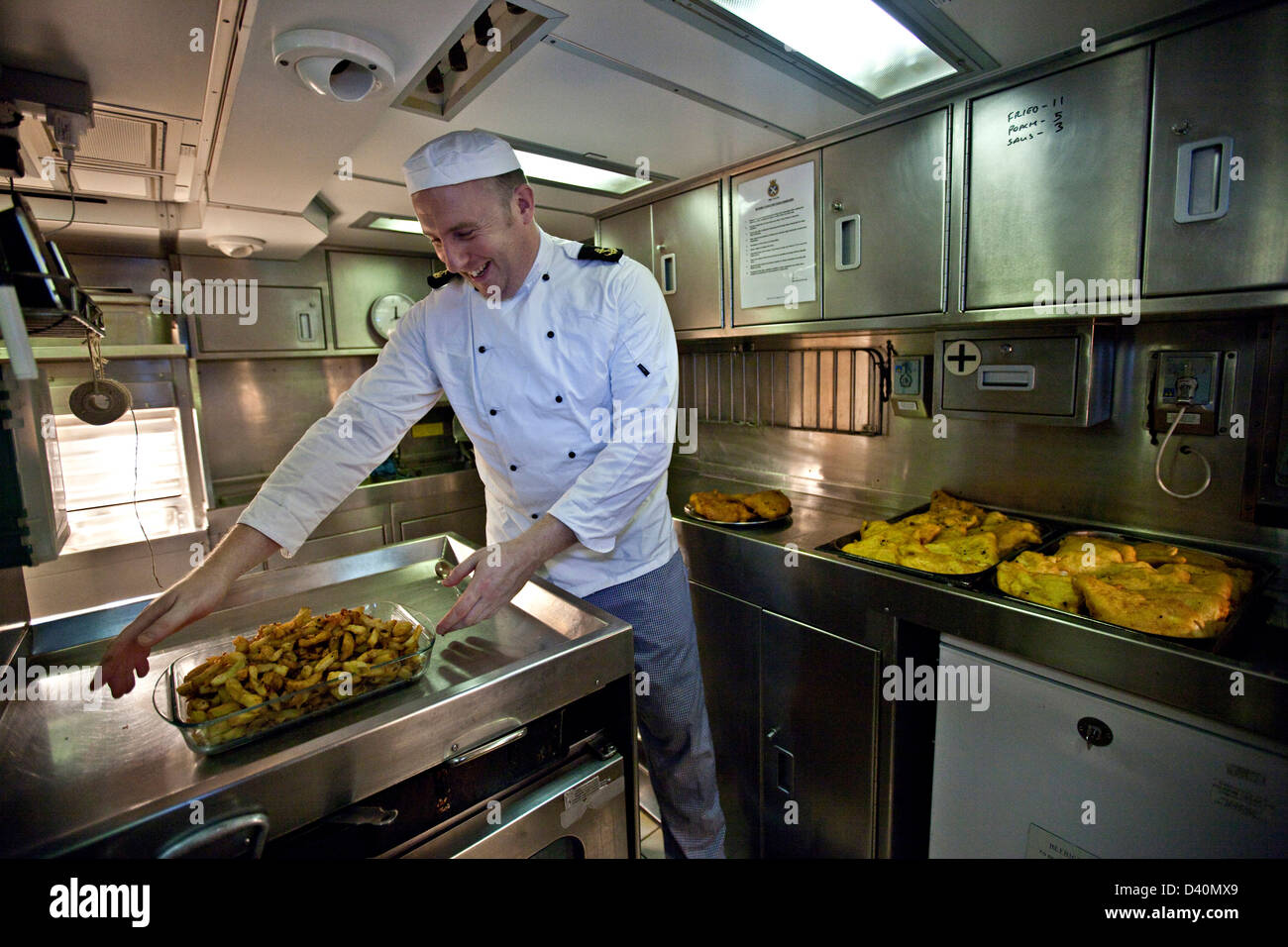 Fish and chips on Nuclear Submarine HMS Talent Stock Photo ...