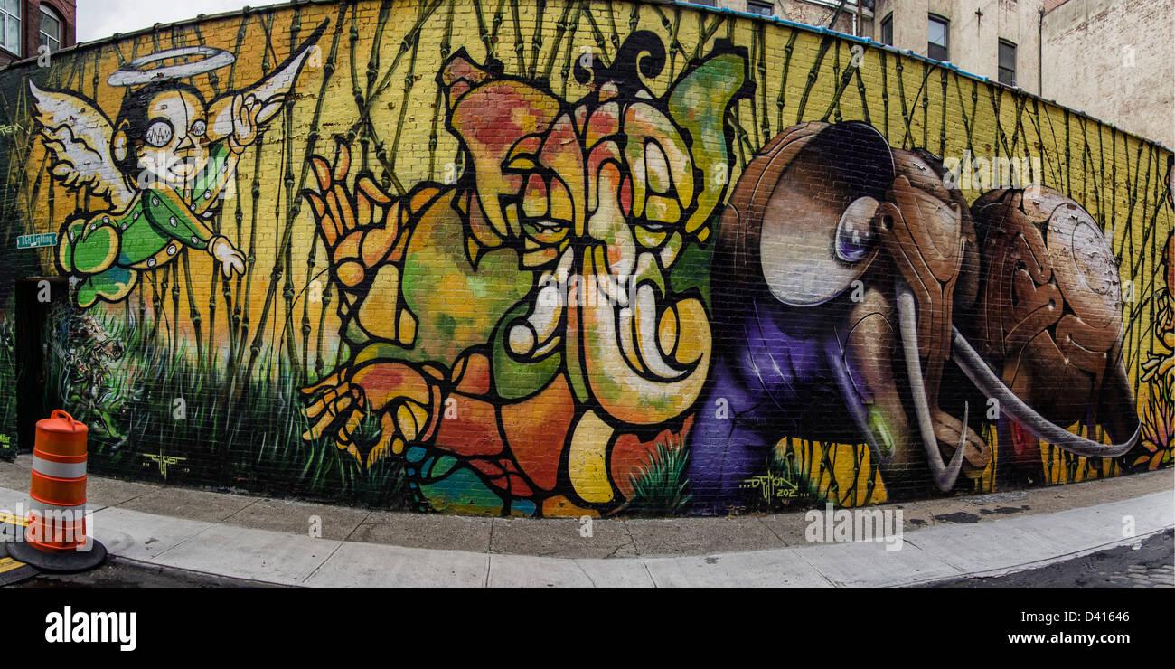 Graffiti wall painting - Stock Photo Urban Graffiti 303 Collectives Wall Painting At Water Street Dumbo New