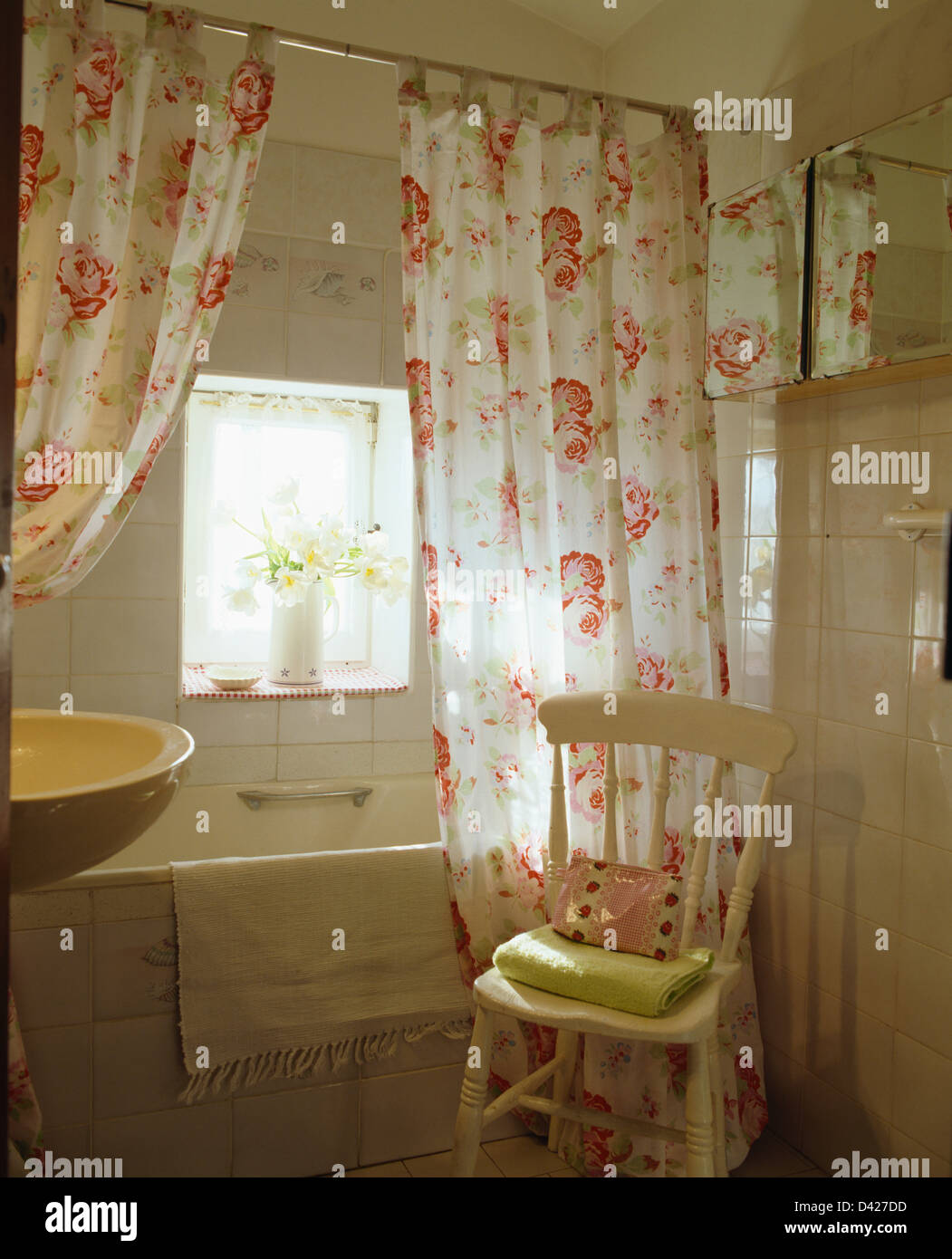 Country bathroom shower curtains - Rose Printed Shower Curtains On Bath In Country Bathroom With Painted Cream Chair