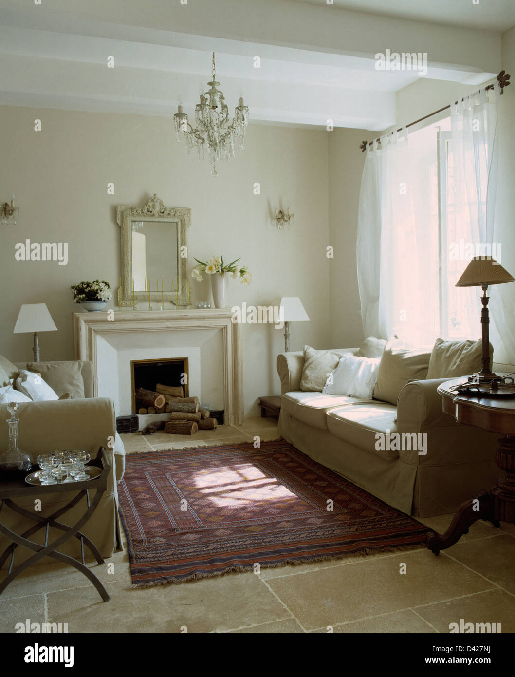 Cream Sofas On Either Side Of Fireplace In French Country Living Room With Oriental Rug Stone Flagged Floor
