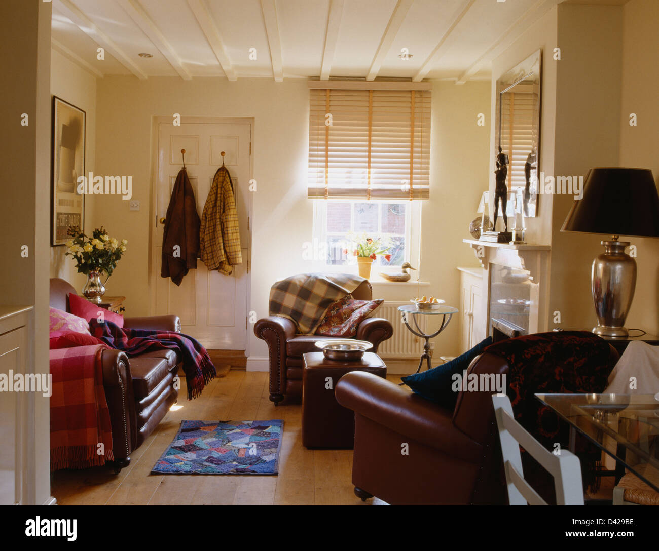 Brown Leather Sofa And Armchairs In Cottage Living Room With Split Cane  Blind And Wooden Part 46