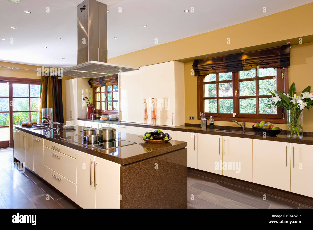 Kitchen Island Extractor extractor fan over island unit in modern kitchen in spanish villa