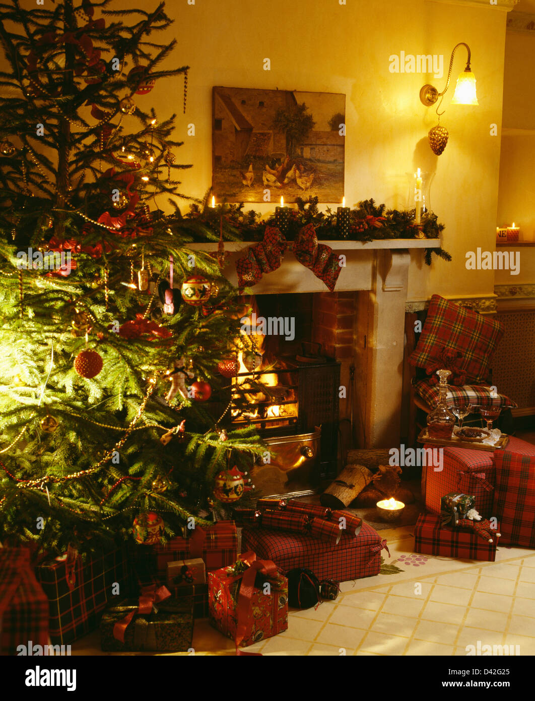 Living Room Decorations For Christmas Country Christmas Tree Living Room Stock Photos Country