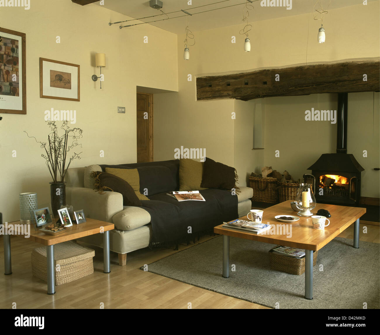 Coffee Table And Beige Sofa With Brown Throw In Beige