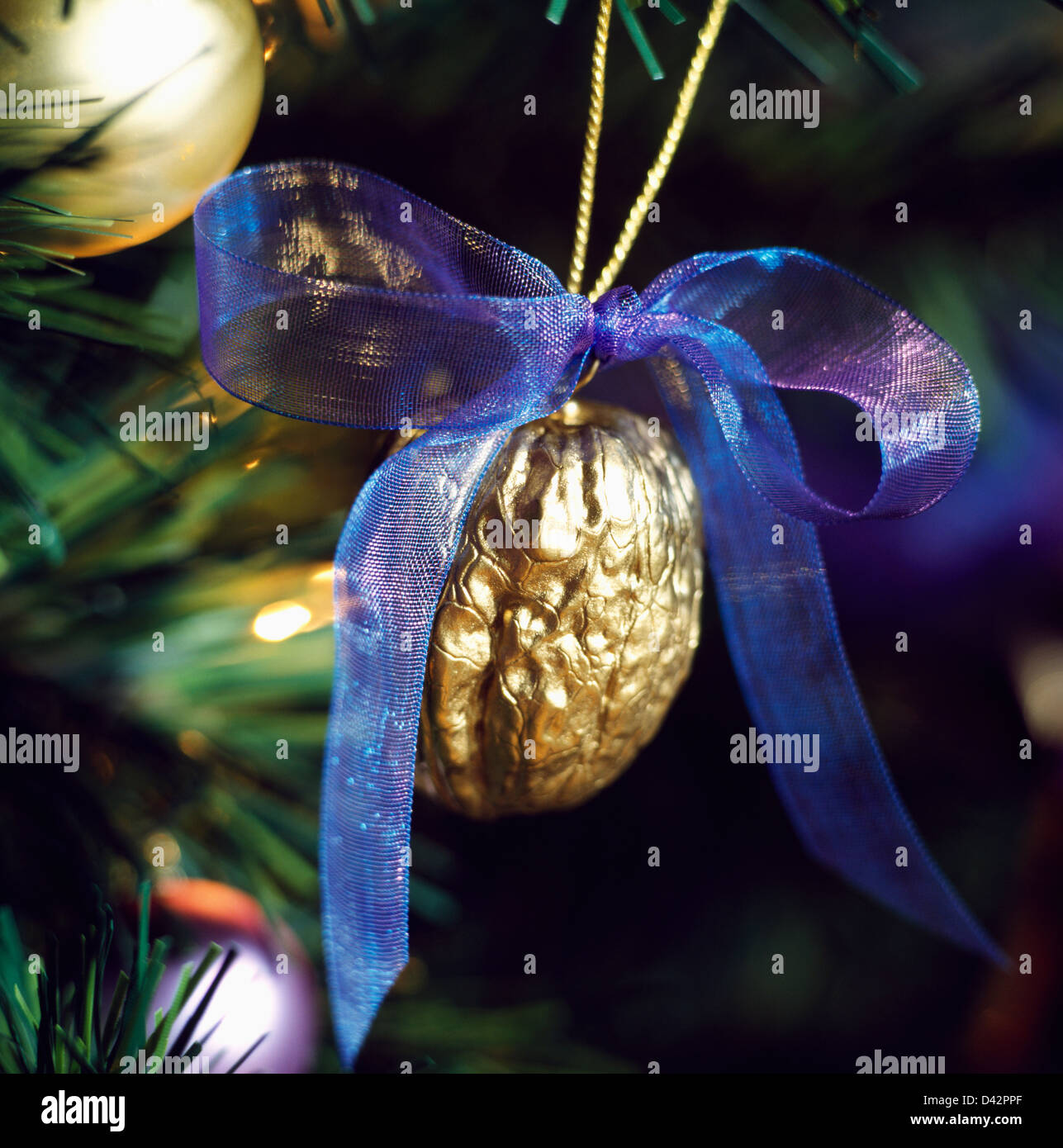 Blue and gold christmas tree decorations - Close Up Of Gold Painted Walnut Christmas Tree Decoration Tied With A Blue Organza Bow