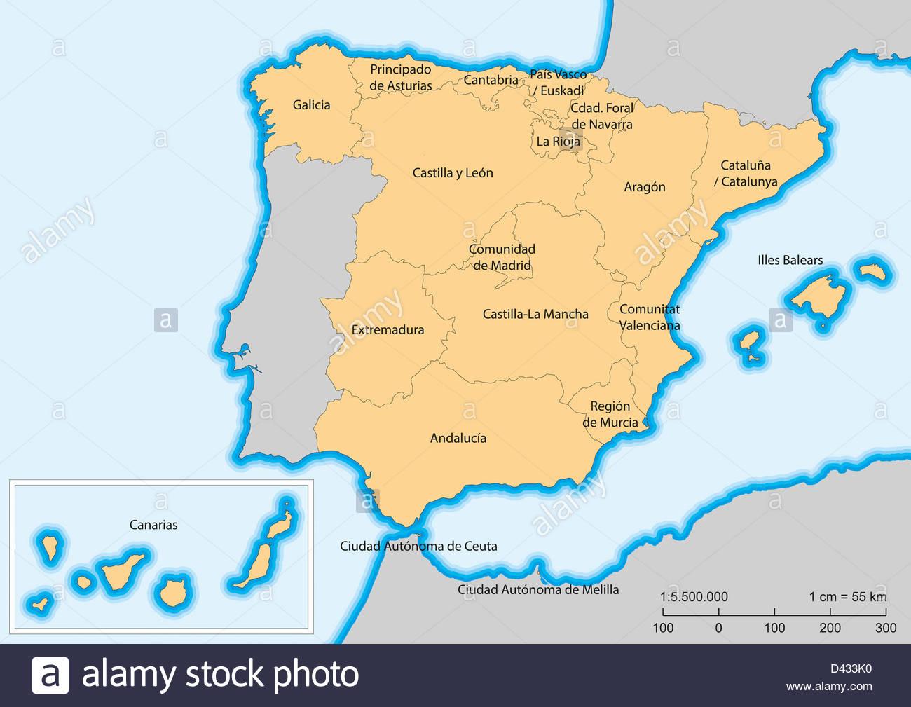 Map of Spain with islands Autonomous communities Escale 1