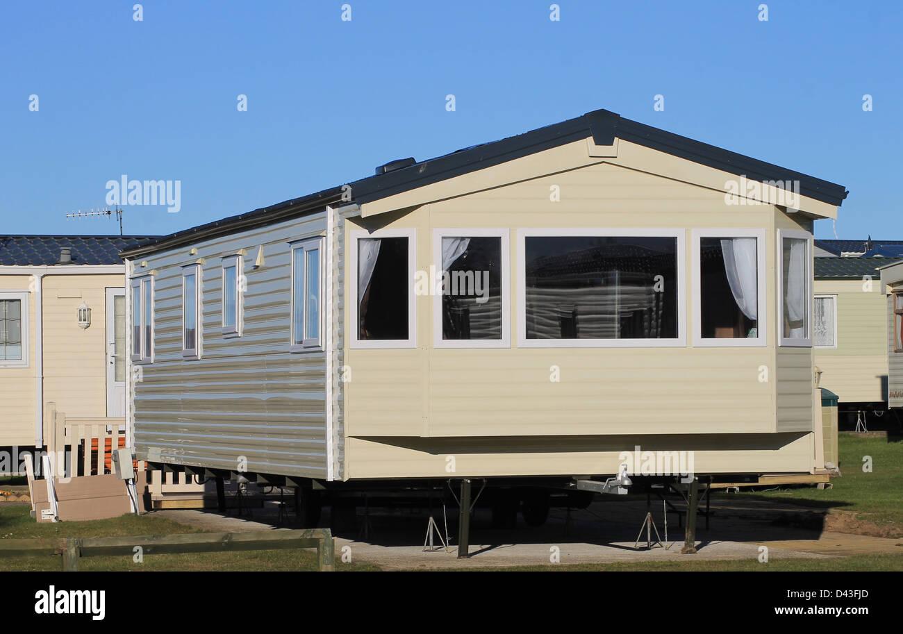 Exterior Of Modern Mobile Home On Caravan Park Scarborough England