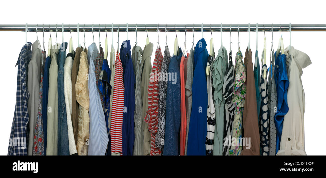 rail of hanging clothes cut out white background stock
