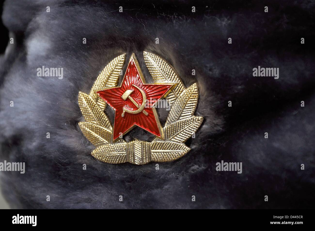 Hammer sickle stock photos hammer sickle stock images alamy close up of a russian army hat ushanka with soviet star hammer biocorpaavc Gallery