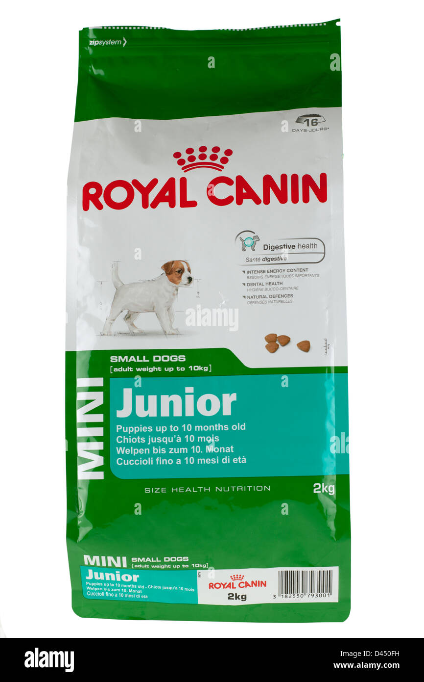 2 kg bag of royal canin mini junior puppy dog food stock photo royalty free image 54199925 alamy. Black Bedroom Furniture Sets. Home Design Ideas