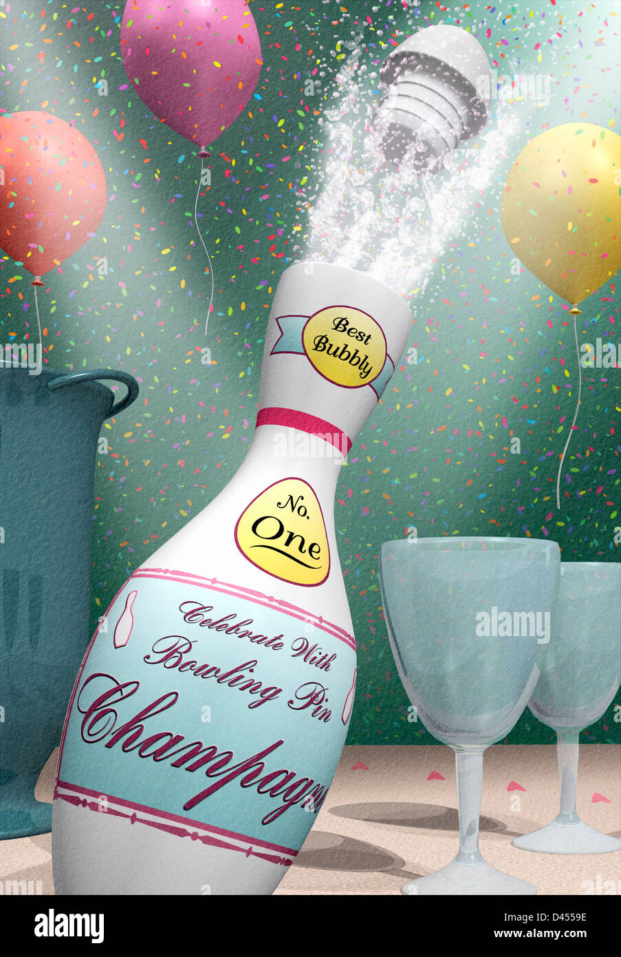 Bowling pin balloons - Stock Photo Stop Action Illustration Of A Bowling Pin Champagne Bottle Shooting Bubbly With Glasses Confetti And Balloons In Celebration
