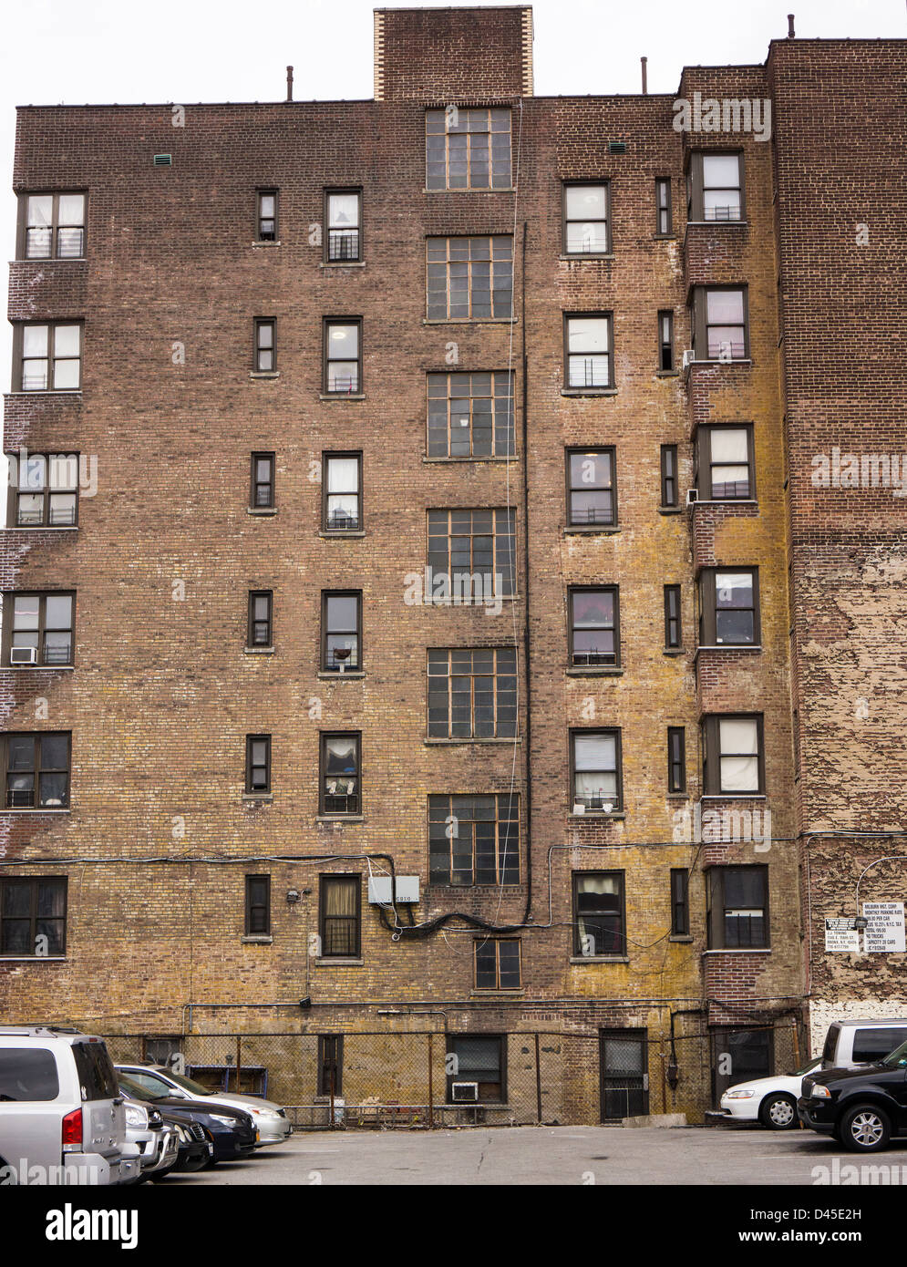 Brick Apartment Building brick walls and windows on apartment buildings in manhattan in new