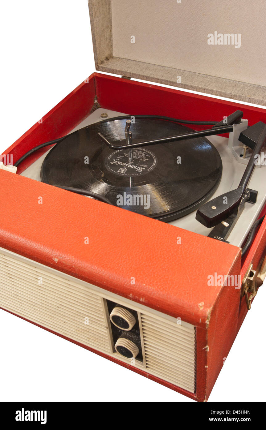 Old vinyl record player with a 78 record on it stock photo for What to do with old vinyl records