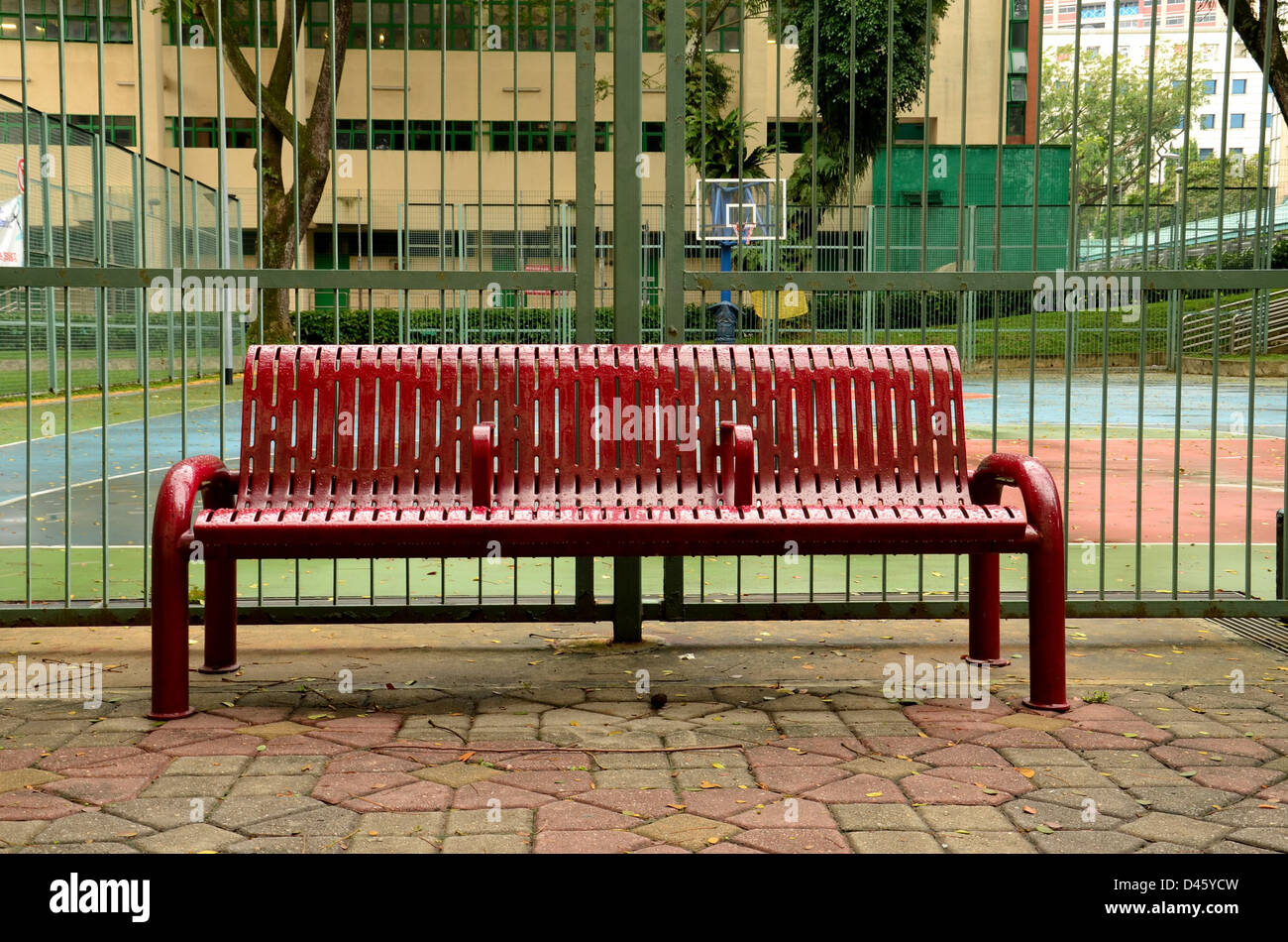 bench outside. Wet bench outside basketball court Stock Photo  54221017 Alamy
