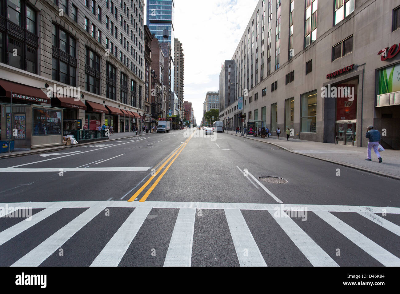 Wide angle photograph of an almost empty street in New ...