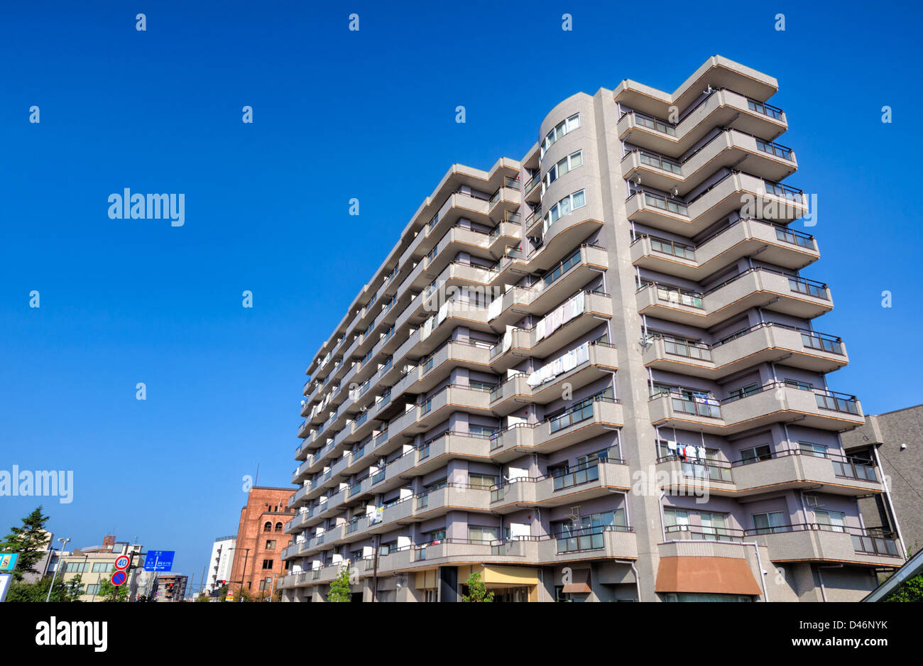 Mid Rise Living: Large Modern Apartment Block In Japan. This Is Typical Of