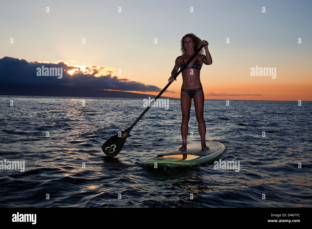 Stand up paddle board ornament - Surf Instructor Tara Angioletti At Sunset On A Stand Up Paddle Board Off Canoe Bearch